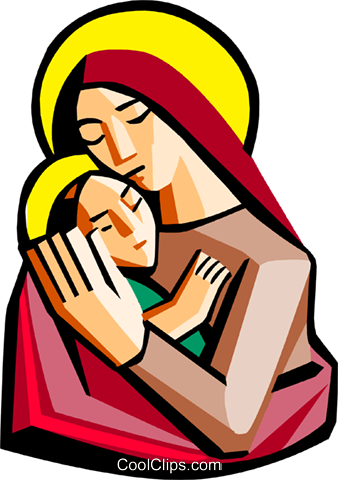 Mother Mary with baby Jesus Royalty Free Vector Clip Art illustration spec0273