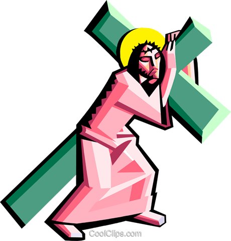 Jesus carrying the cross Royalty Free Vector Clip Art illustration spec0275