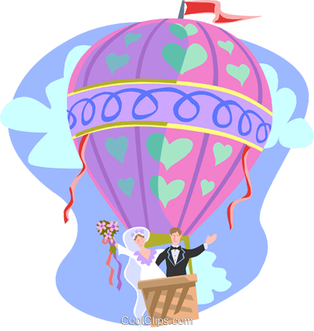 Newlywed couple in hot air balloon Royalty Free Vector Clip Art illustration spec0288