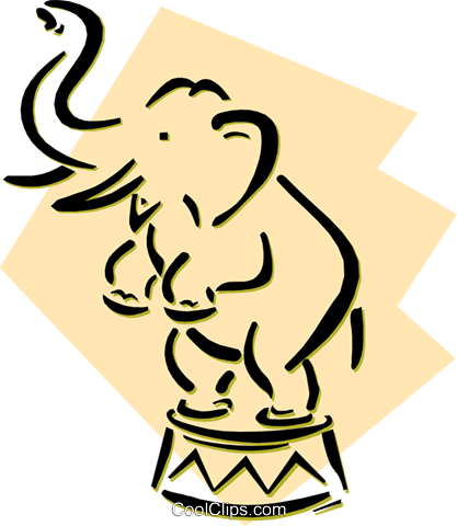 circus elephant Royalty Free Vector Clip Art illustration anim1975
