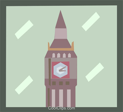 clock tower Royalty Free Vector Clip Art illustration arch0477