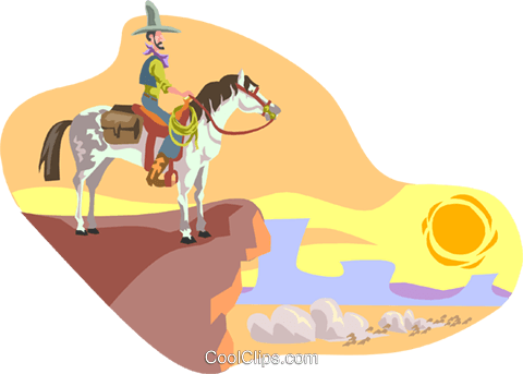 cowboy on horse Royalty Free Vector Clip Art illustration divi0081