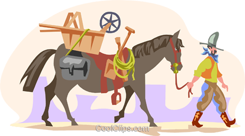 cowboy walking horse Royalty Free Vector Clip Art illustration divi0082