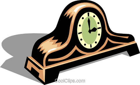 mantle clock Royalty Free Vector Clip Art illustration hous1289