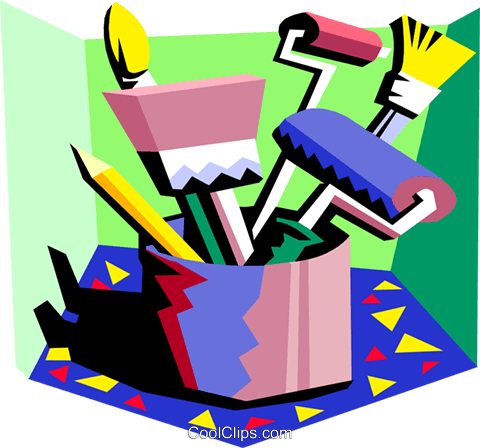 painter's tools Royalty Free Vector Clip Art illustration indu0919