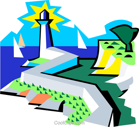 lighthouse and seashore scene Royalty Free Vector Clip Art illustration natu0861