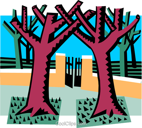 majestic trees with gate Royalty Free Vector Clip Art illustration natu0862
