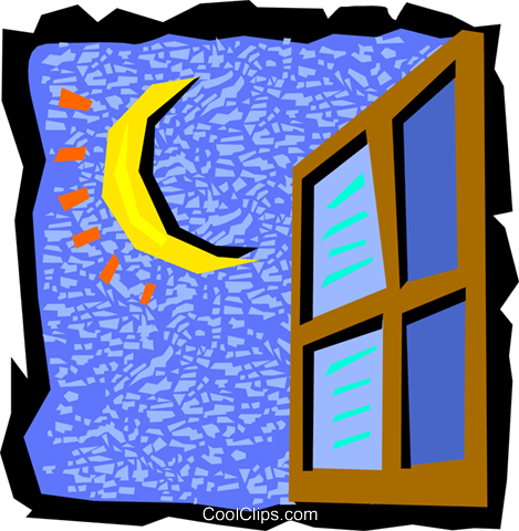 night sky with window Royalty Free Vector Clip Art illustration natu0864