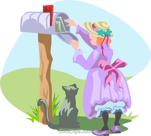 checking the mailbox Royalty Free Vector Clip Art illustration peop3145