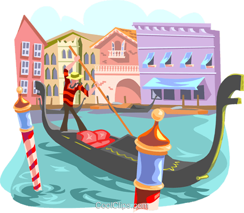 Venice gondola Royalty Free Vector Clip Art illustration peop3189