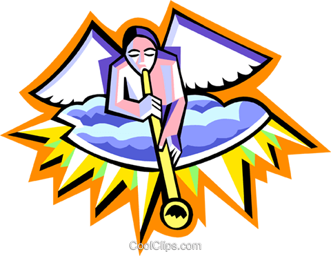 angel with trumpet Royalty Free Vector Clip Art illustration spec0297