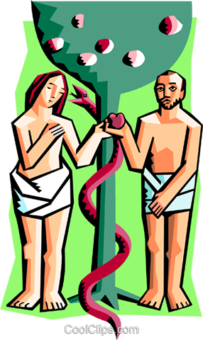 Adam and Eve Royalty Free Vector Clip Art illustration spec0300