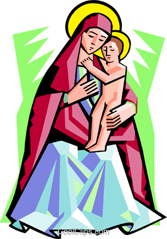 Virgin Mother with Child Royalty Free Vector Clip Art illustration spec0301