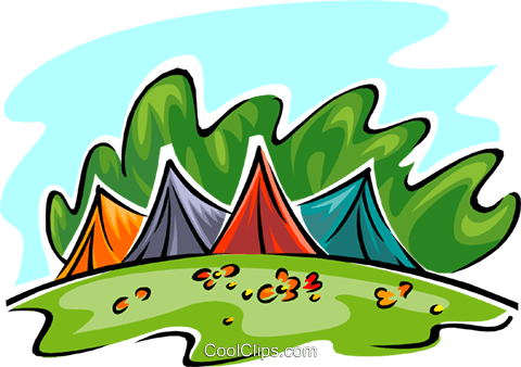 tents in park Royalty Free Vector Clip Art illustration spor0372