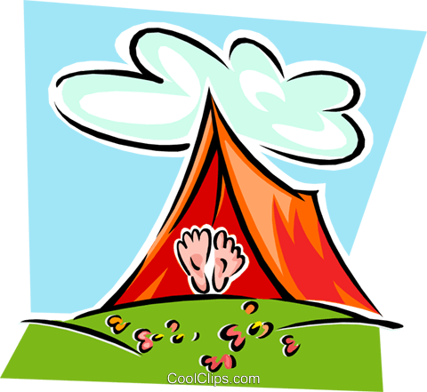 tent with feet exposed Royalty Free Vector Clip Art illustration spor0373