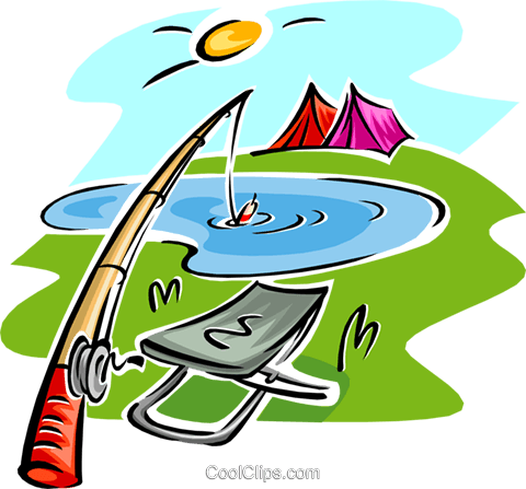 fishing rod and seat, tents Royalty Free Vector Clip Art illustration spor0376
