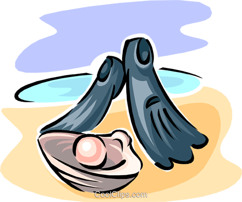 flippers with pearl in oyster Royalty Free Vector Clip Art illustration spor0379