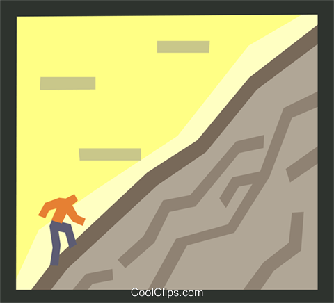 business - uphill climb Royalty Free Vector Clip Art illustration symb0085