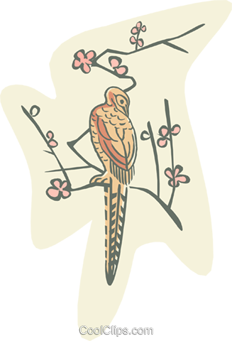 bird in tree Royalty Free Vector Clip Art illustration anim1976