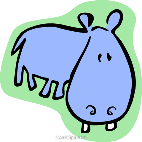 cartoon hippo Royalty Free Vector Clip Art illustration anim1985