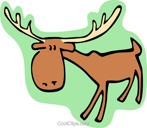 cartoon moose Royalty Free Vector Clip Art illustration anim1994