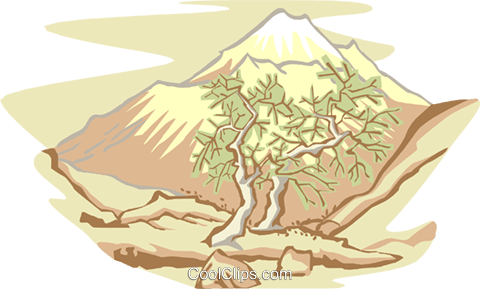 Trees and mountains Royalty Free Vector Clip Art illustration natu0870