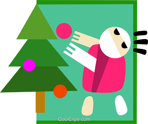 decorating the Christmas tree Royalty Free Vector Clip Art illustration peop3233