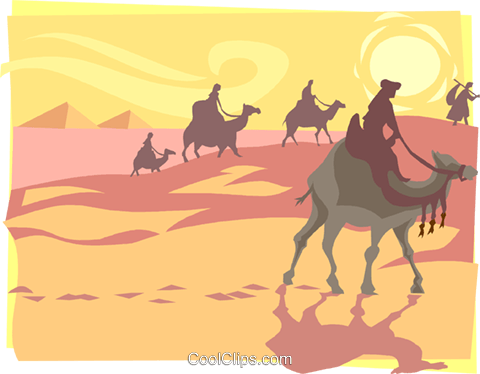 desert trek Royalty Free Vector Clip Art illustration peop3247