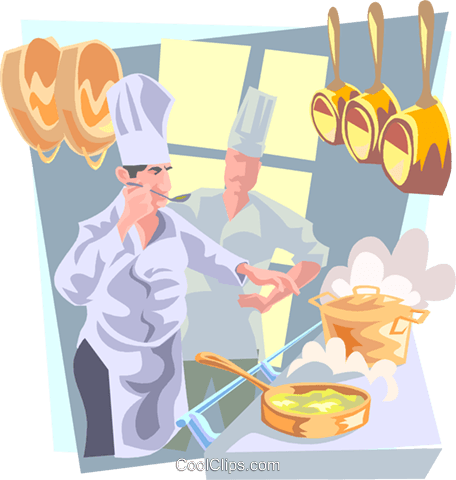 chefs in the kitchen Royalty Free Vector Clip Art illustration peop3250