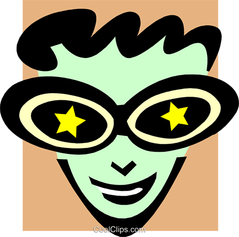 stars in his eyes Royalty Free Vector Clip Art illustration peop3257