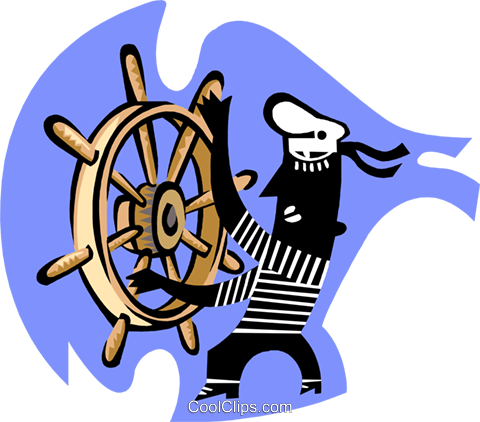 steering a ship/navigation Royalty Free Vector Clip Art illustration peop3266