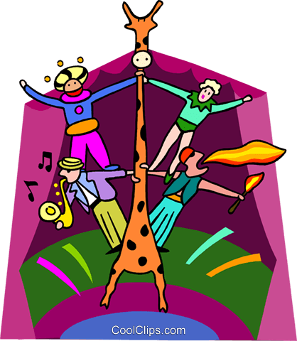 circus performers on giraffe Royalty Free Vector Clip Art illustration spec0304