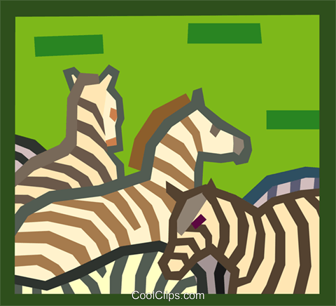 zebras Royalty Free Vector Clip Art illustration anim2011