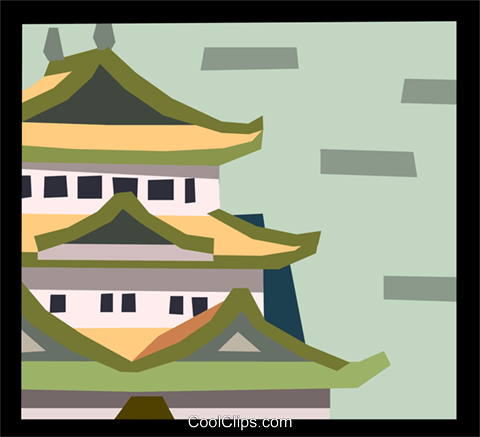 Japanese pagoda Royalty Free Vector Clip Art illustration arch0491