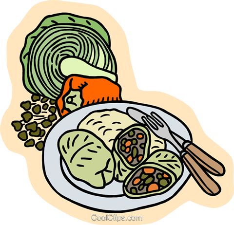 Cabbage rolls with peppers Royalty Free Vector Clip Art illustration food1114