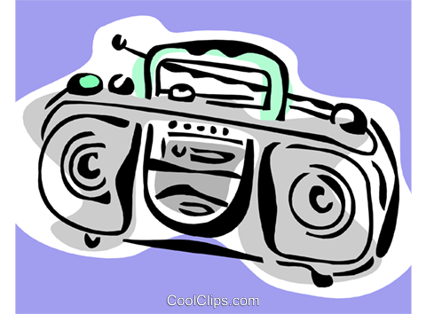 portable stereo Royalty Free Vector Clip Art illustration hous1328