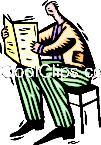 businessman reading newspaper Royalty Free Vector Clip Art illustration peop3280