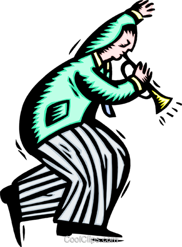 blowing his own horn Royalty Free Vector Clip Art illustration peop3282
