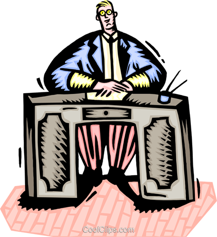 Businessman at his desk Royalty Free Vector Clip Art illustration peop3290