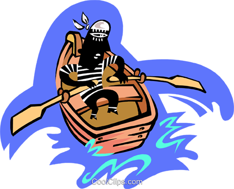 man in row boat Royalty Free Vector Clip Art illustration peop3329