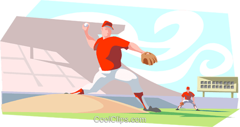 Baseball pitcher throwing ball Royalty Free Vector Clip Art illustration peop3331