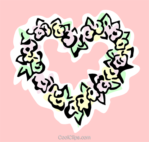 Heart of flowers Royalty Free Vector Clip Art illustration spec0314