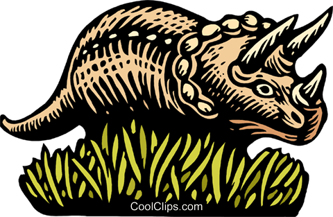 Woodcut Triceratops Royalty Free Vector Clip Art illustration anim2027