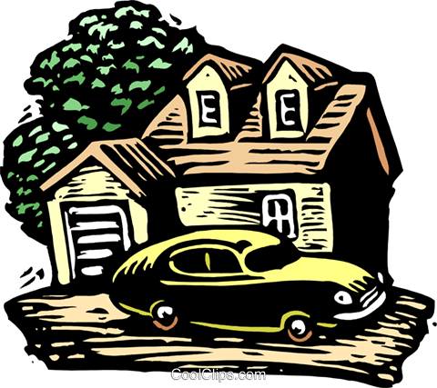 Woodcut house and car Royalty Free Vector Clip Art illustration arch0498