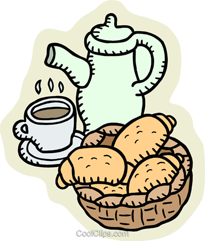 croissants and coffee Royalty Free Vector Clip Art illustration food1126