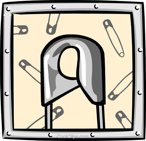 safety pin Royalty Free Vector Clip Art illustration hous1337