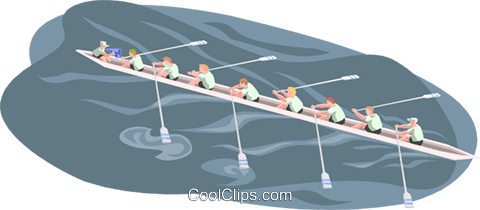 rowing team Royalty Free Vector Clip Art illustration peop3340
