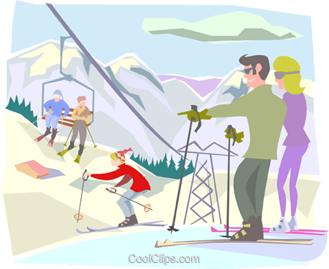 Skiers on top of hill Royalty Free Vector Clip Art illustration peop3343