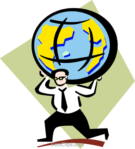 weight of the world on his shoulders Royalty Free Vector Clip Art illustration peop3351