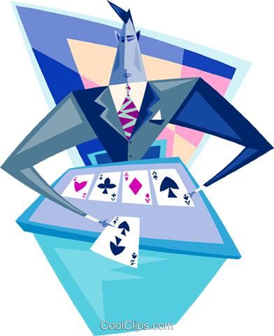 holding five aces Royalty Free Vector Clip Art illustration peop3364